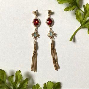 NWOT Rhinestone & Pearl Firefly Earrings